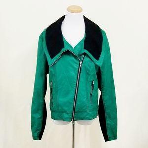 Ronson leather moto jacket kelly green black vegan